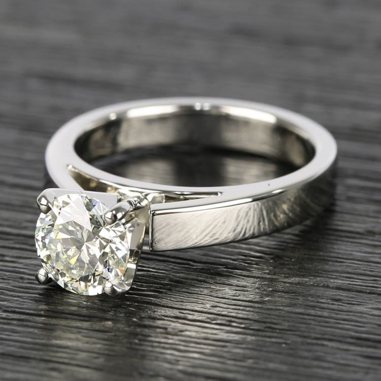 Flat Cathedral Round Diamond Solitaire Ring (1.19 ct.) angle 2