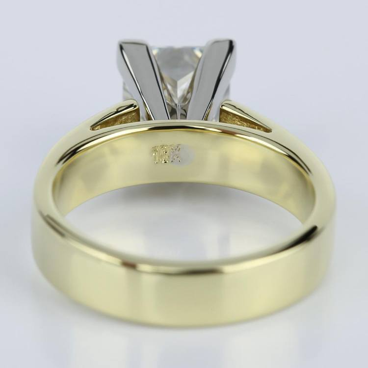 Flat Cathedral Solitaire Princess Diamond Engagement Ring in Yellow Gold (1.74 ct.) angle 4