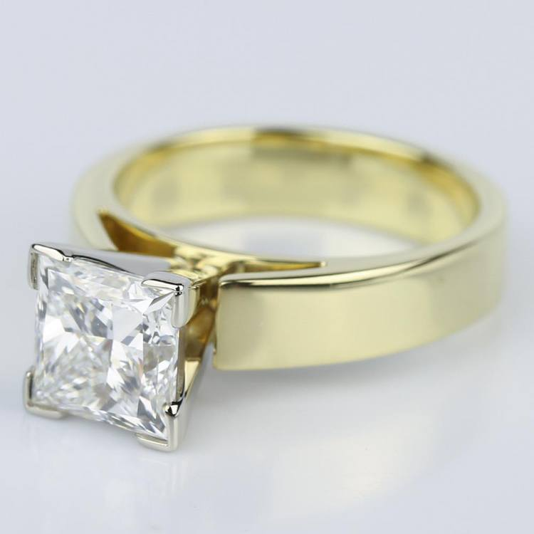 Flat Cathedral Solitaire Princess Diamond Engagement Ring in Yellow Gold (1.74 ct.) angle 2