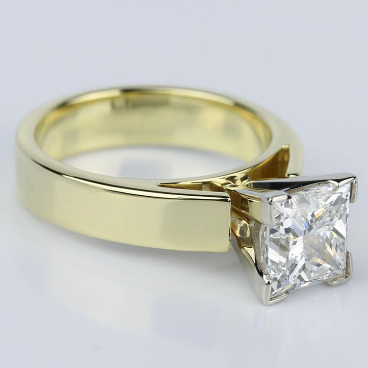 Flat Cathedral Solitaire Princess Diamond Engagement Ring in Yellow Gold (1.74 ct.) angle 3