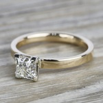 Flat Solitaire 1 Carat Princess Diamond Engagement Ring - small angle 2