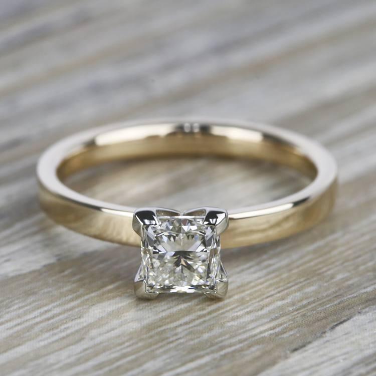 Flat Solitaire 1 Carat Princess Diamond Engagement Ring
