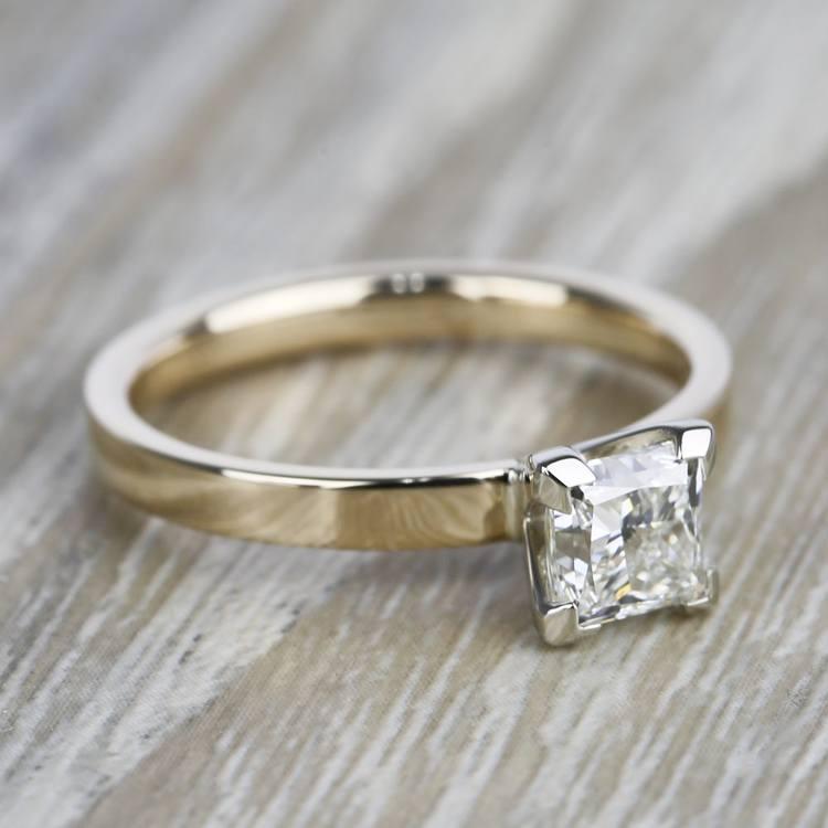 Flat Solitaire 1 Carat Princess Diamond Engagement Ring angle 3