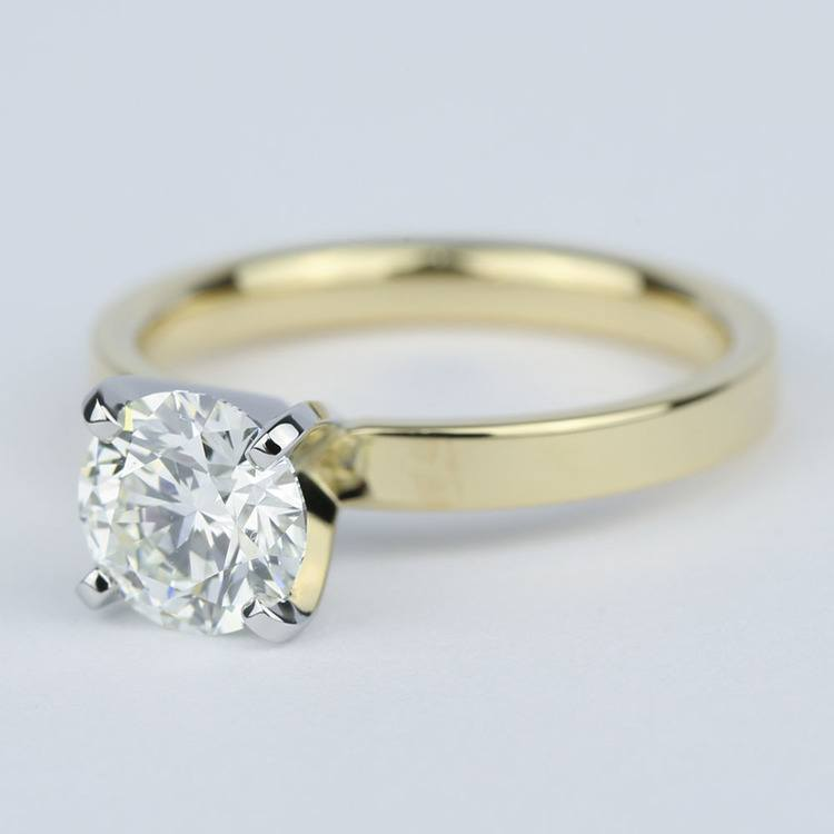 Solitaire Round Diamond Engagement Ring with Flat Band (1 Carat) angle 2