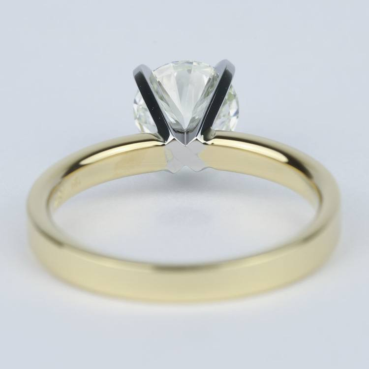 Solitaire Round Diamond Engagement Ring with Flat Band (1 Carat) angle 4