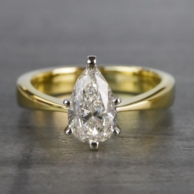Flat Solitaire Pear Shaped Diamond Ring