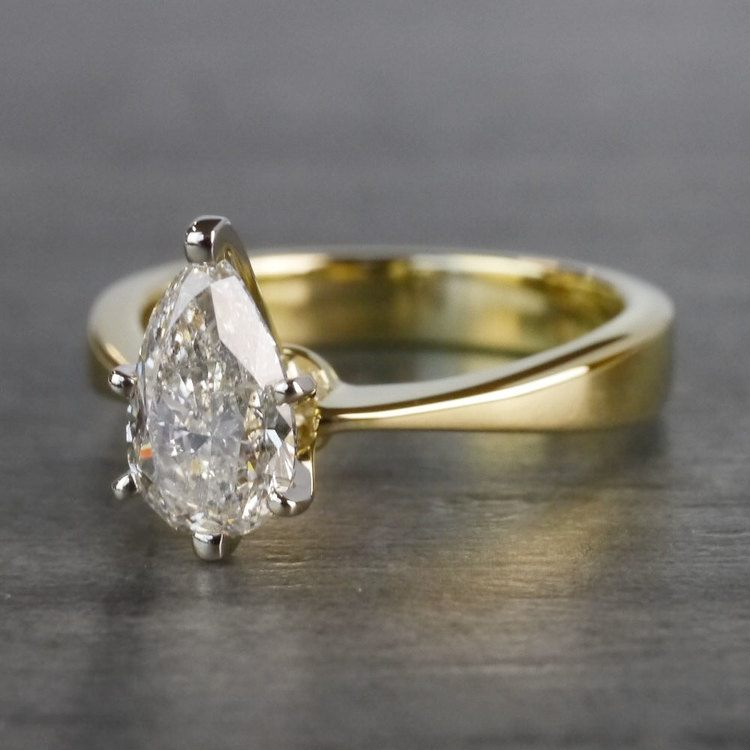 Flat Solitaire Pear Shaped Diamond Ring angle 2