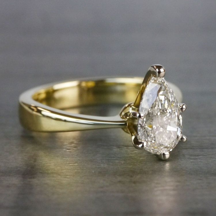 Flat Solitaire Pear Shaped Diamond Ring angle 3