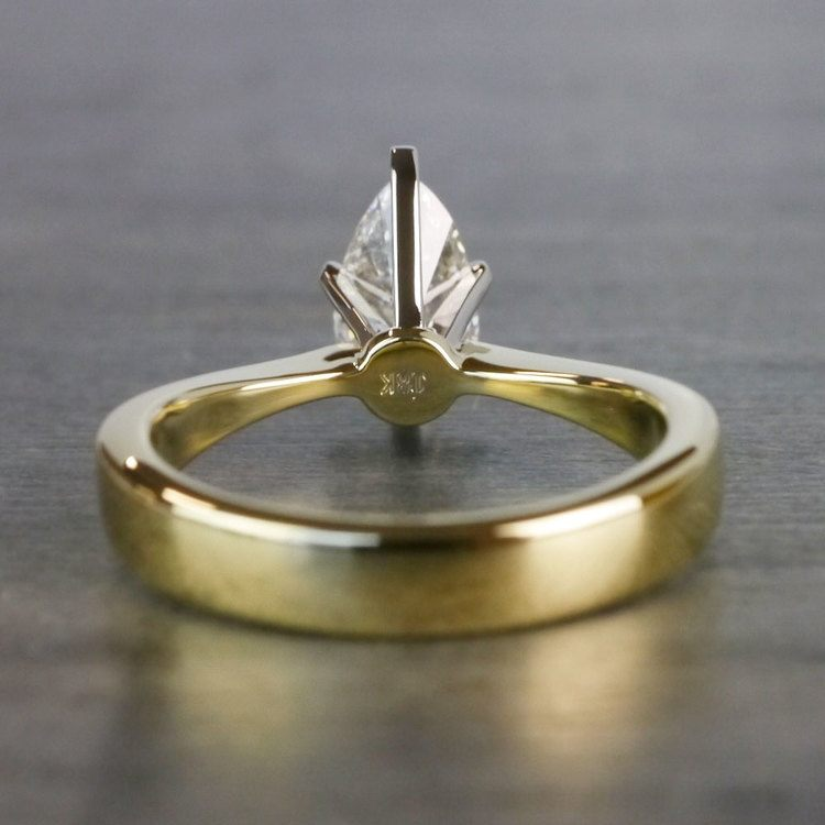 Flat Solitaire Pear Shaped Diamond Ring angle 4