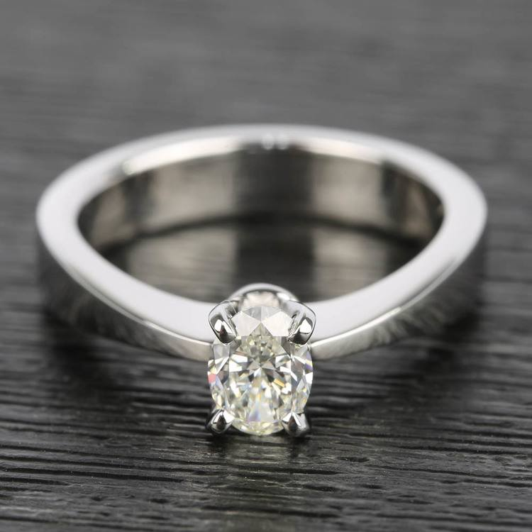 Flat Taper 1/2 Carat Oval Diamond Engagement Ring
