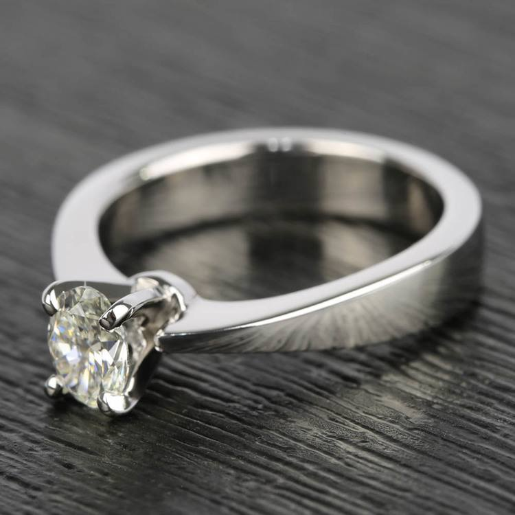 Flat Taper 1/2 Carat Oval Diamond Engagement Ring angle 2