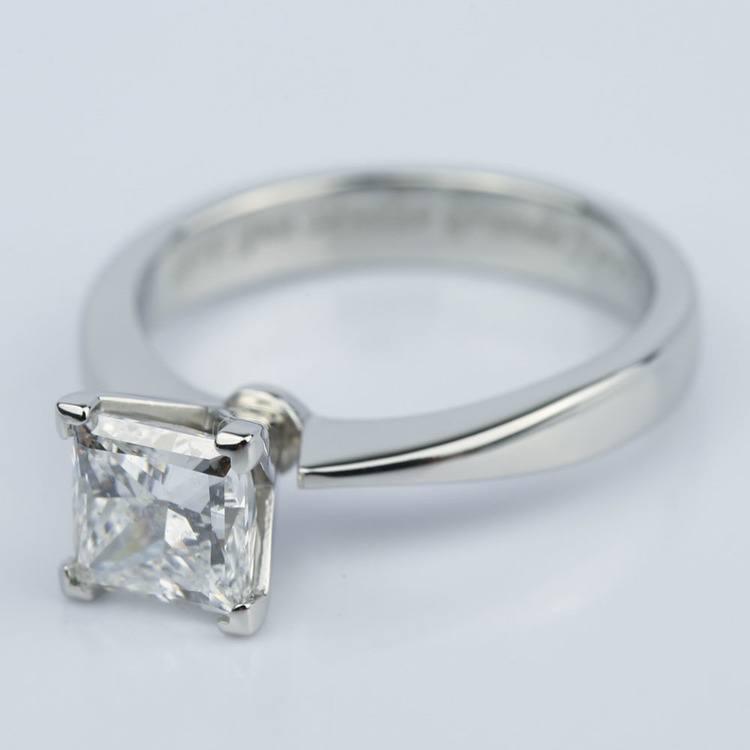 Flat Taper 1.50 Carat Princess Diamond Engagement Ring angle 2
