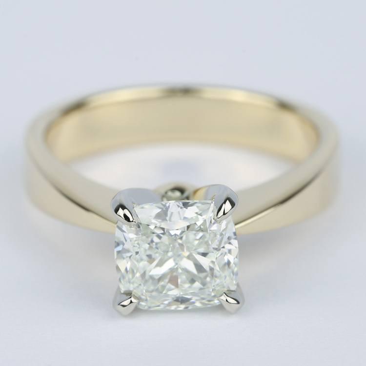 Flat-Taper Cushion Diamond Engagement Ring (2 Carat)