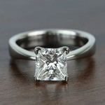 Flat Taper 2 Carat Princess Solitaire Diamond Engagement Ring - small