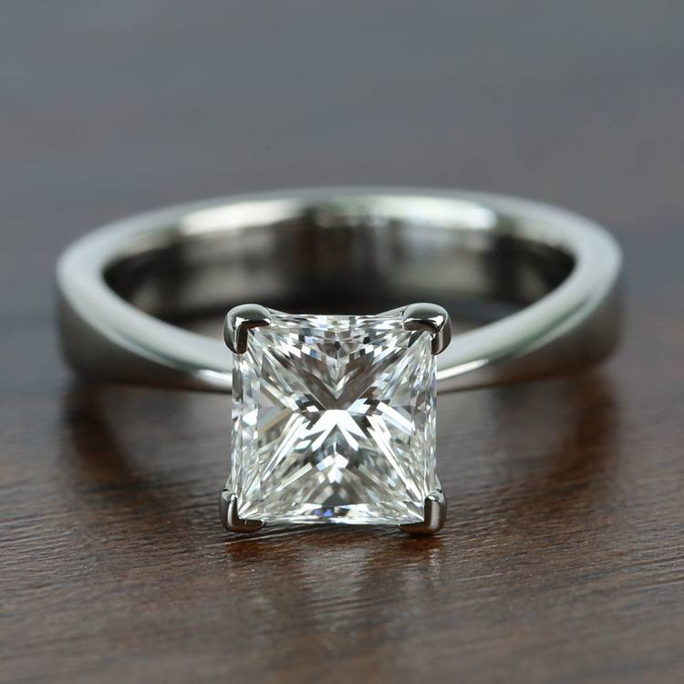 Flat Taper 2 Carat Princess Solitaire Diamond Engagement Ring