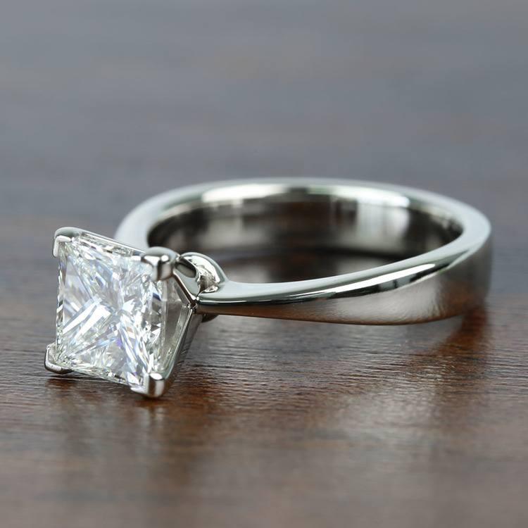 Flat Taper 2 Carat Princess Solitaire Diamond Engagement Ring angle 2