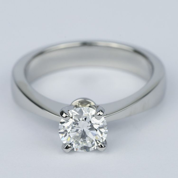 Flat Taper Solitaire Round Diamond Engagement Ring (0.96 ct.)