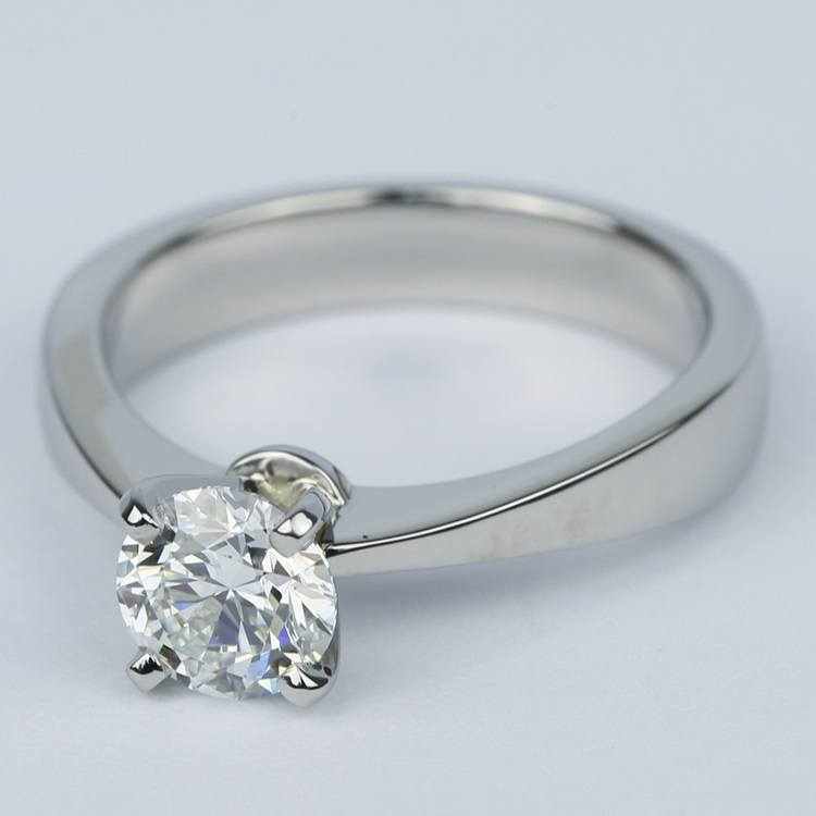 Flat Taper Solitaire Round Diamond Engagement Ring (0.96 ct.) angle 2