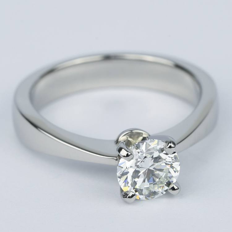 Flat Taper Solitaire Round Diamond Engagement Ring (0.96 ct.) angle 3