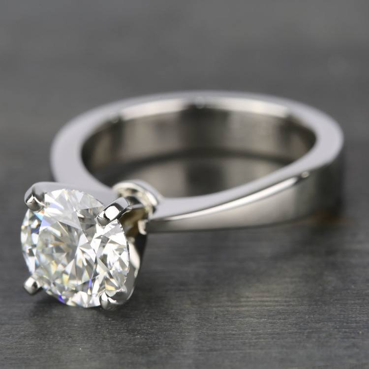 Taper Solitaire Engagement Ring with 2 Carat Diamond angle 2