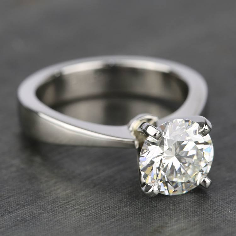 Taper Solitaire Engagement Ring with 2 Carat Diamond angle 3