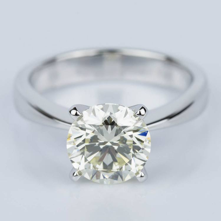 Flat Taper Solitaire Engagement Ring in White Gold (2.36 ct.)