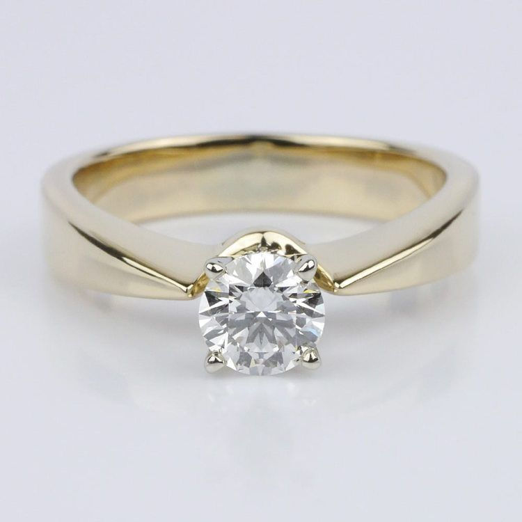 Flat Taper Solitaire Engagement Ring in Yellow Gold (0.50 ct.)