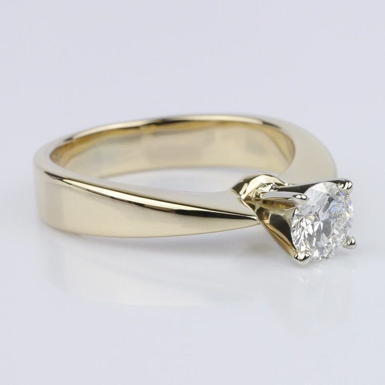 Flat Taper Solitaire Engagement Ring in Yellow Gold (0.50 ct.) angle 3