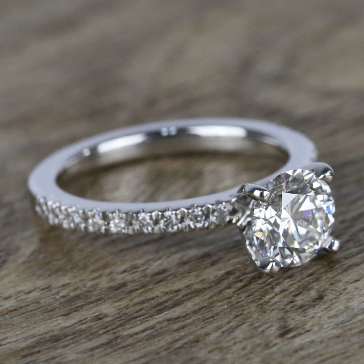 1 Carat Near-Flawless Round Diamond Engagement Ring  angle 3