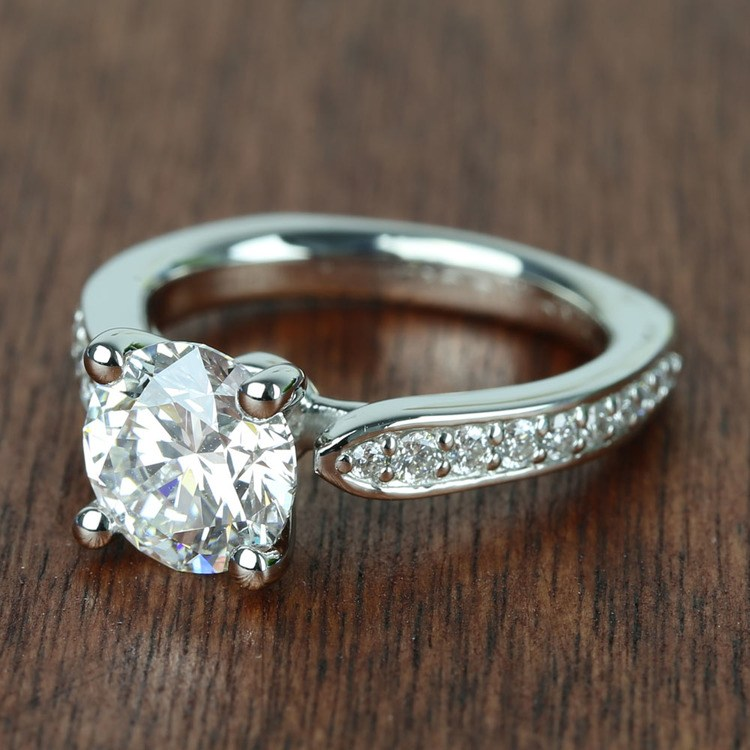 Flawless Round Diamond Cathedral Ring (2.50 Carat) angle 2