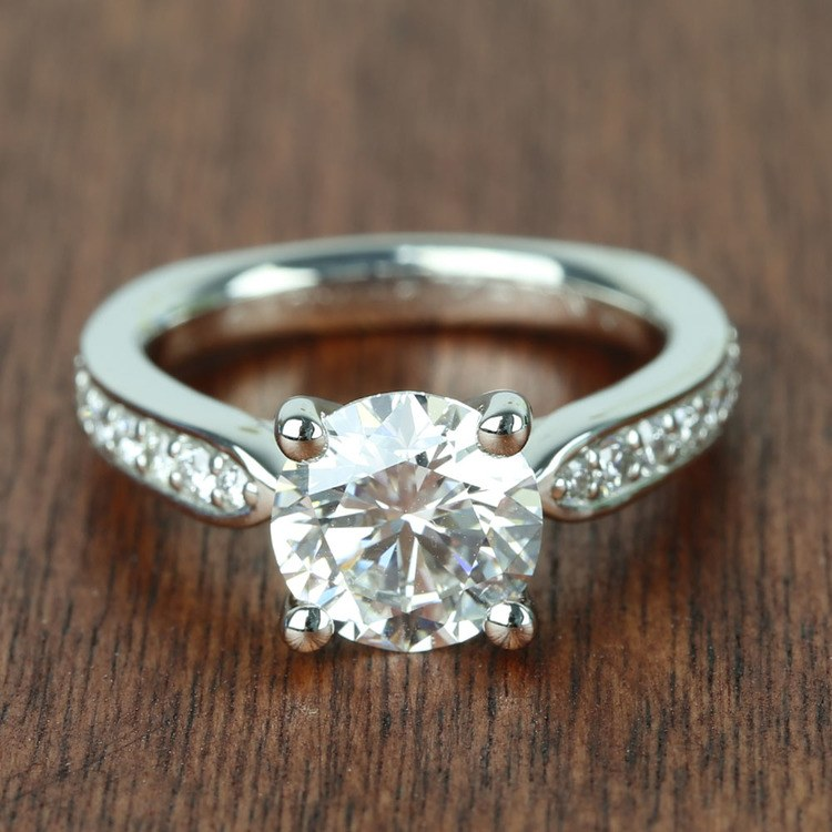 Flawless Round Diamond Cathedral Ring (2.50 Carat)