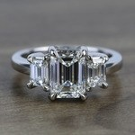 Flawless 2 Carat Three Stone Emerald Diamond Engagement Ring - small