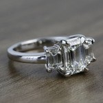 Flawless 2 Carat Three Stone Emerald Diamond Engagement Ring - small angle 3