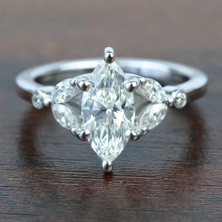 Flawless Antique Marquise Diamond Engagement Ring