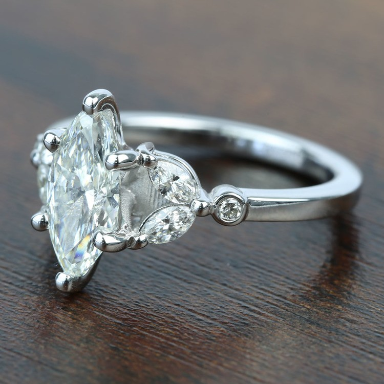 Flawless Antique Marquise Diamond Engagement Ring angle 2