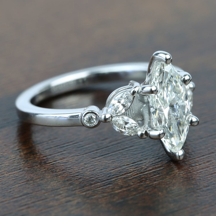 Flawless Antique Marquise Diamond Engagement Ring angle 3