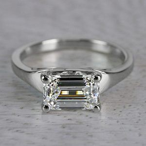 Flawless East West Solitaire Emerald Cut Diamond Ring