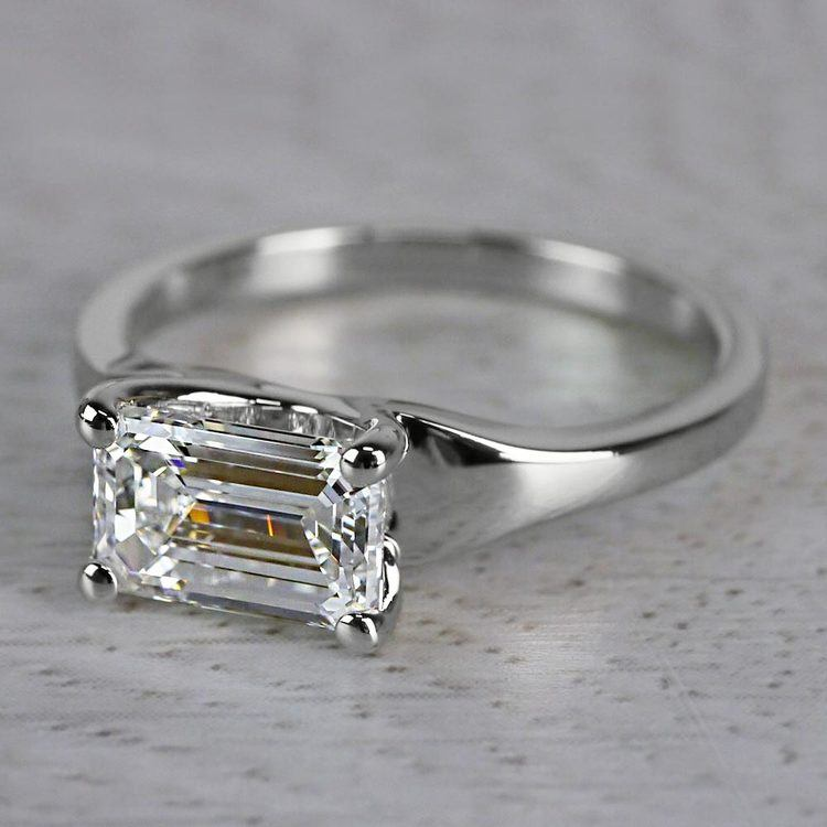 Flawless East West Solitaire Emerald Cut Diamond Ring angle 2
