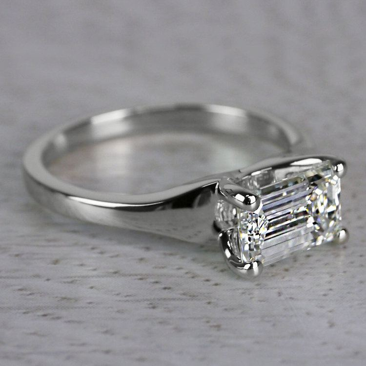 Flawless East West Solitaire Emerald Cut Diamond Ring angle 3