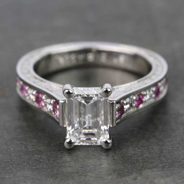 Flawless Emerald Diamond & Pink Sapphires Antique Ring (1.24 Carat)