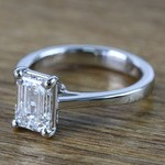 Flawless Emerald Petite Cathedral Diamond Engagement Ring (1.51 Carat) - small angle 2