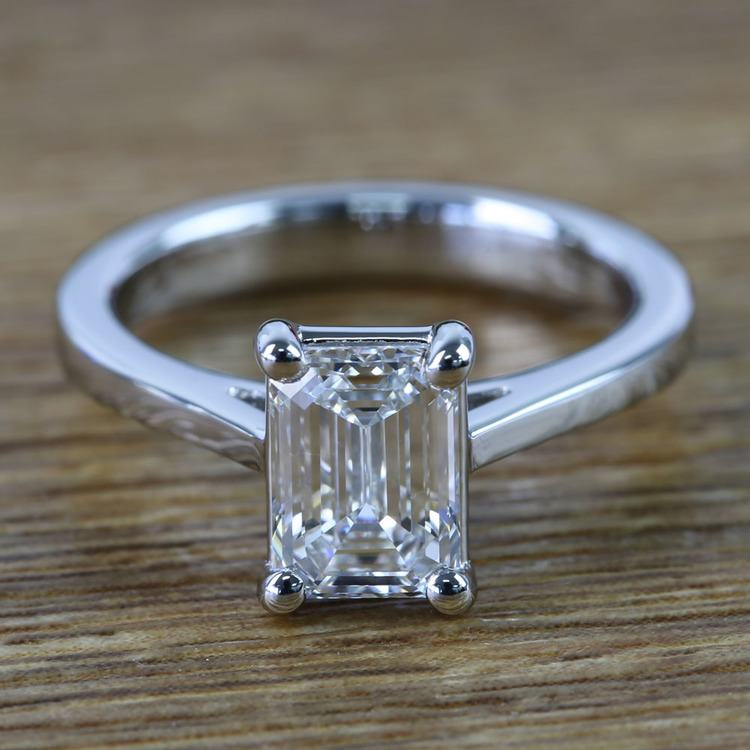 Flawless Emerald Petite Cathedral Diamond Engagement Ring (1.51 Carat)