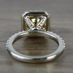 Flawless Fancy Yellow Custom 1.71 Carat Radiant Halo Diamond Engagement Ring - small angle 4