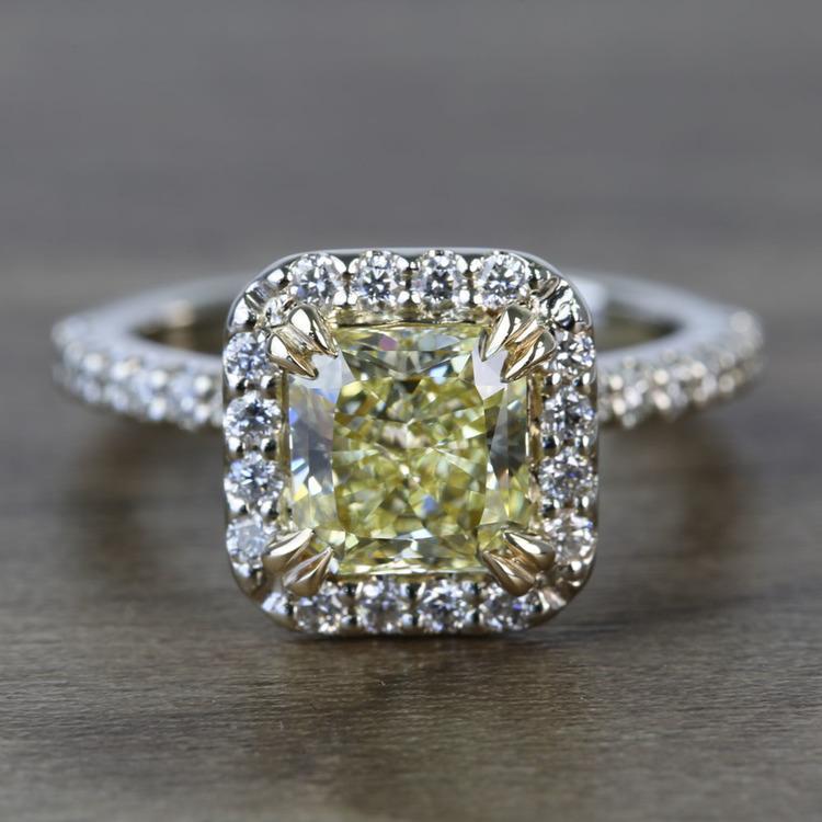 Flawless Fancy Yellow Custom 1.71 Carat Radiant Halo Diamond Engagement Ring