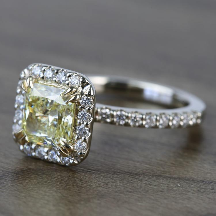 Flawless Fancy Yellow Custom 1.71 Carat Radiant Halo Diamond Engagement Ring angle 2