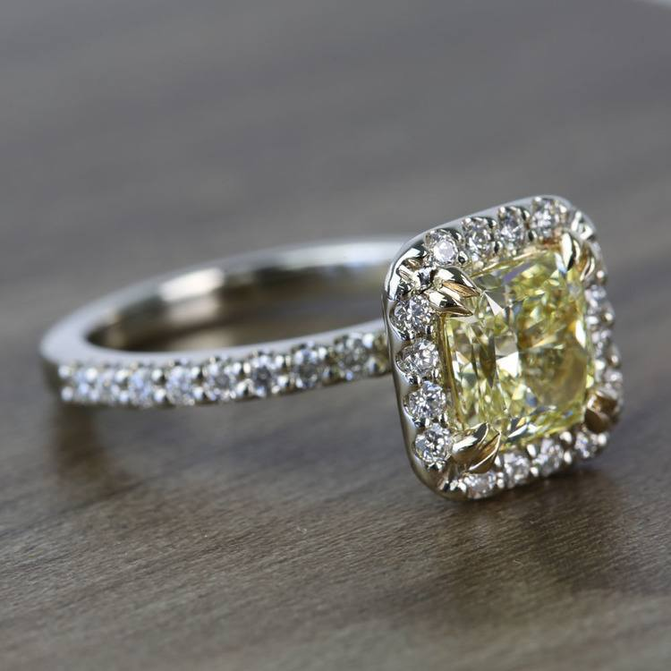 Flawless Fancy Yellow Custom 1.71 Carat Radiant Halo Diamond Engagement Ring angle 3