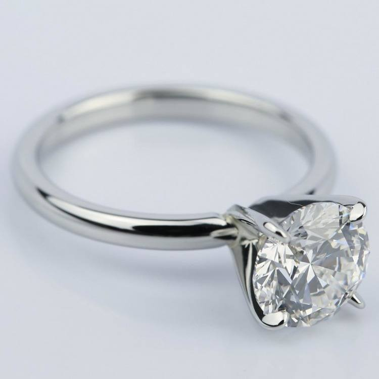 Flawless Round Cut Diamond Solitaire Engagement Ring (1.63 ct.) angle 3