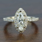 Floating 0.96 Carat Marquise Halo Diamond Engagement Ring - small