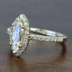 Floating 0.96 Carat Marquise Halo Diamond Engagement Ring - small angle 2