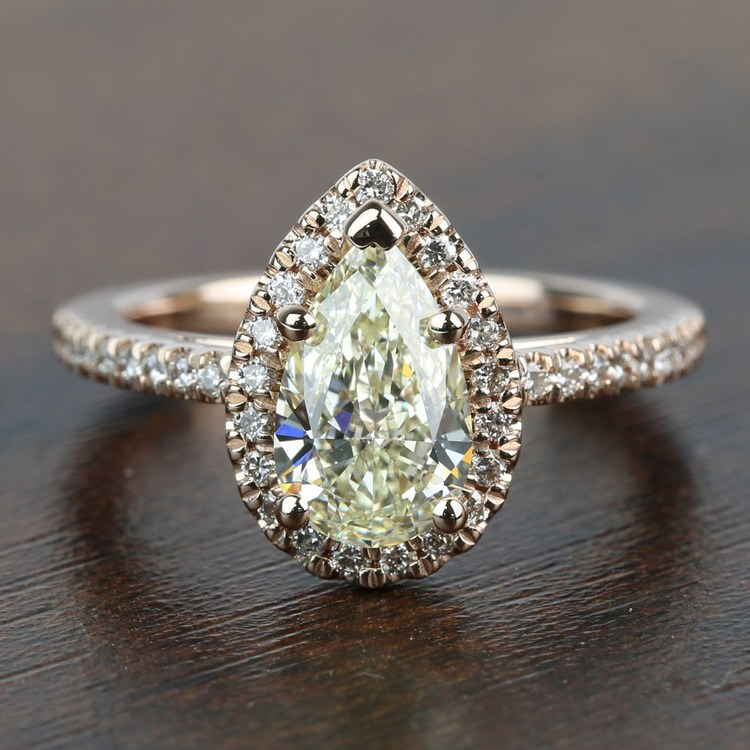 Floating 1.51 Pear Halo Diamond Engagement Ring